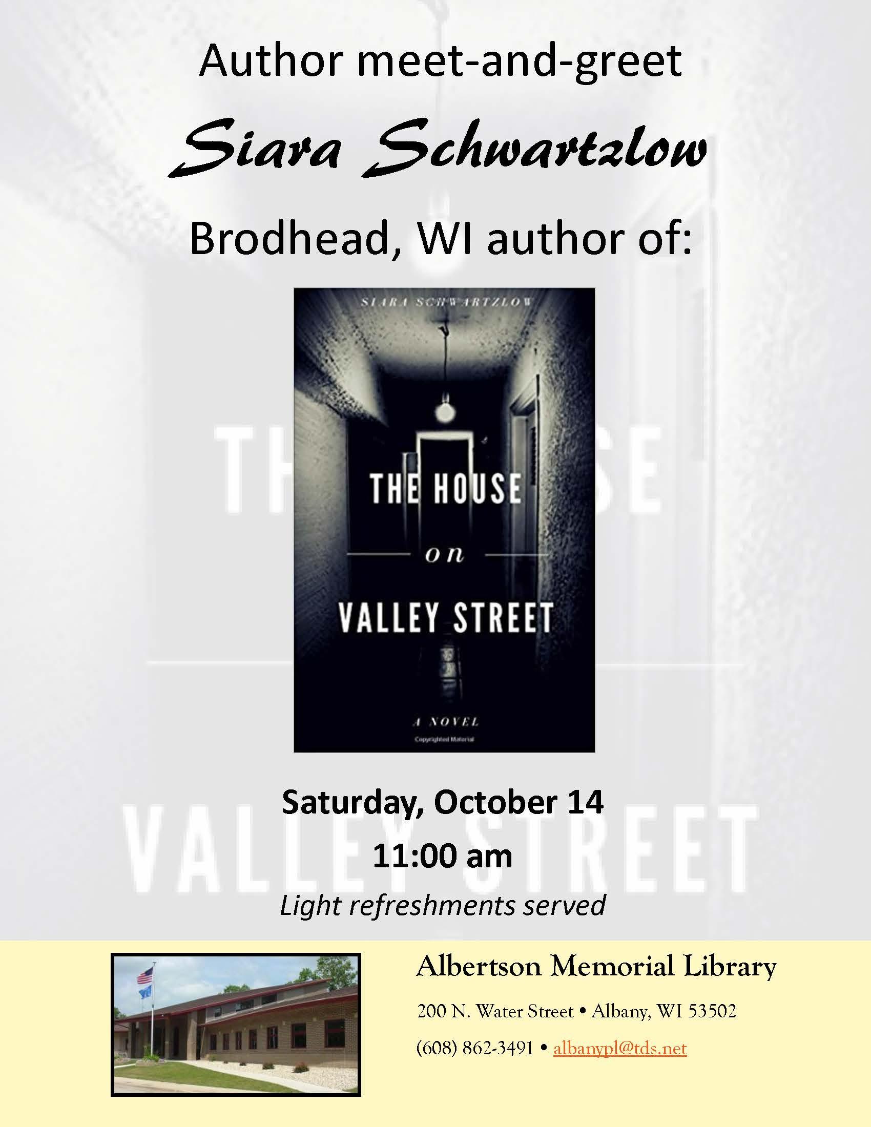 Siara schwartzlow author meet and greet albertson memorial library siara schwartzlow author meet and greet m4hsunfo