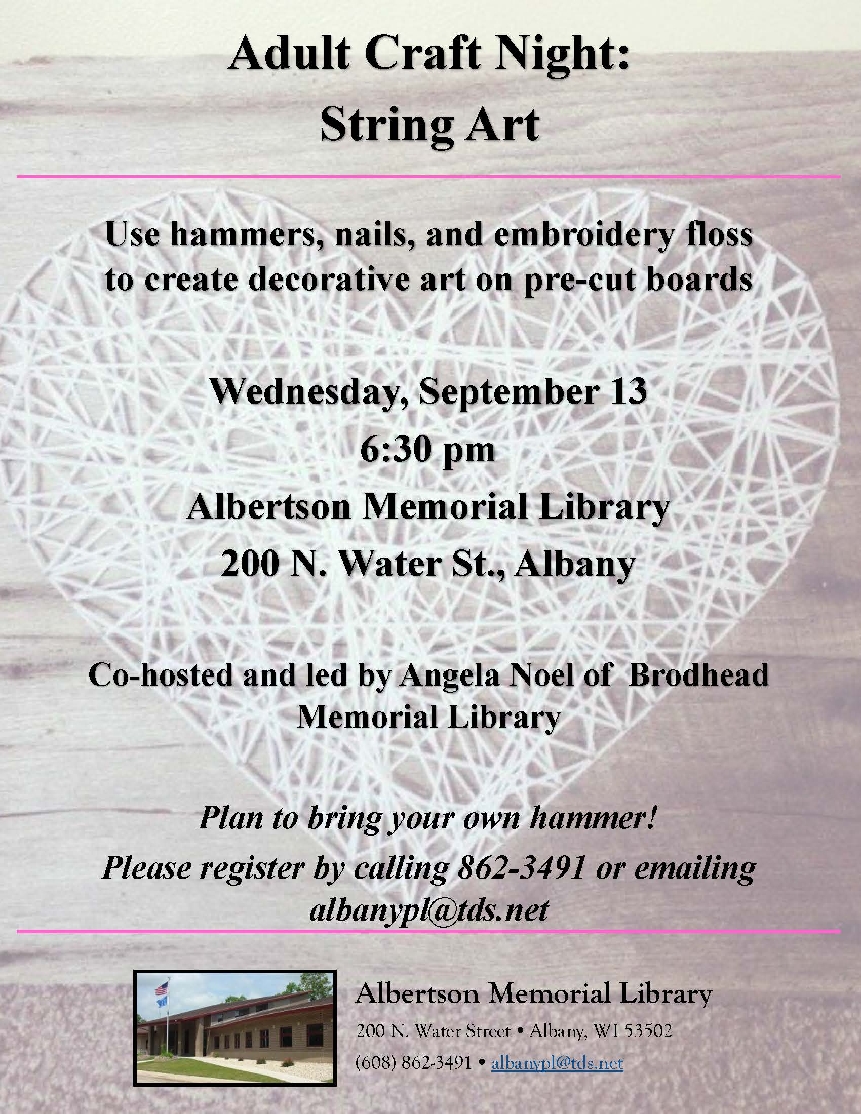 Adult Craft: String Art | Albertson Memorial Library