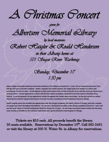 Christmas Concert at Albertson Memorial Library flyer